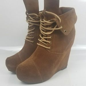 Steven by Steve Madden Suede Wedge Boots Brown